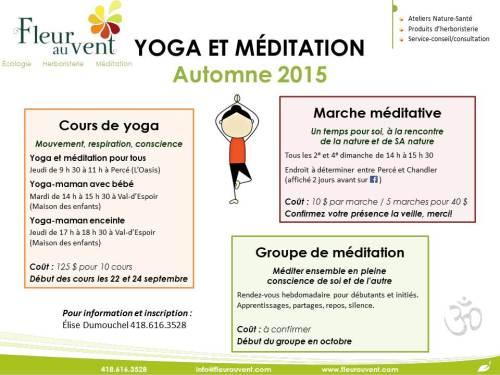 Yoga et méditation automne 2015