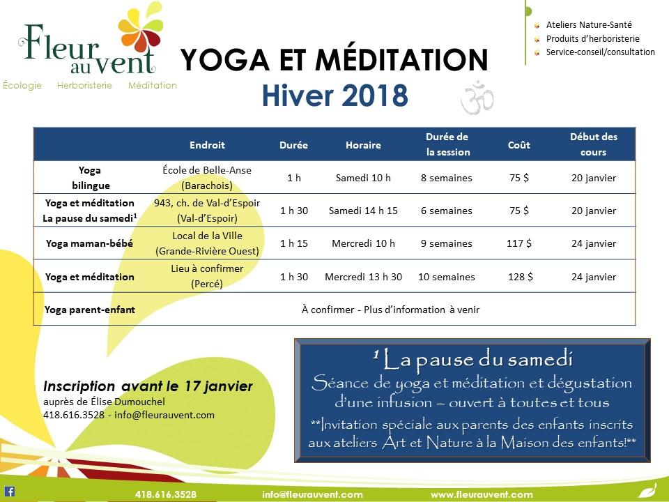 Cours de yoga et méditation - Hiver 2018