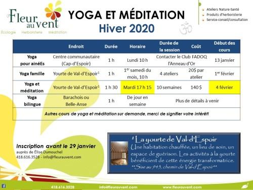 programmation H2020 yoga et méditation