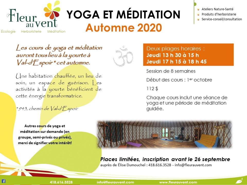 Cours de yoga et méditation - Automne 2020